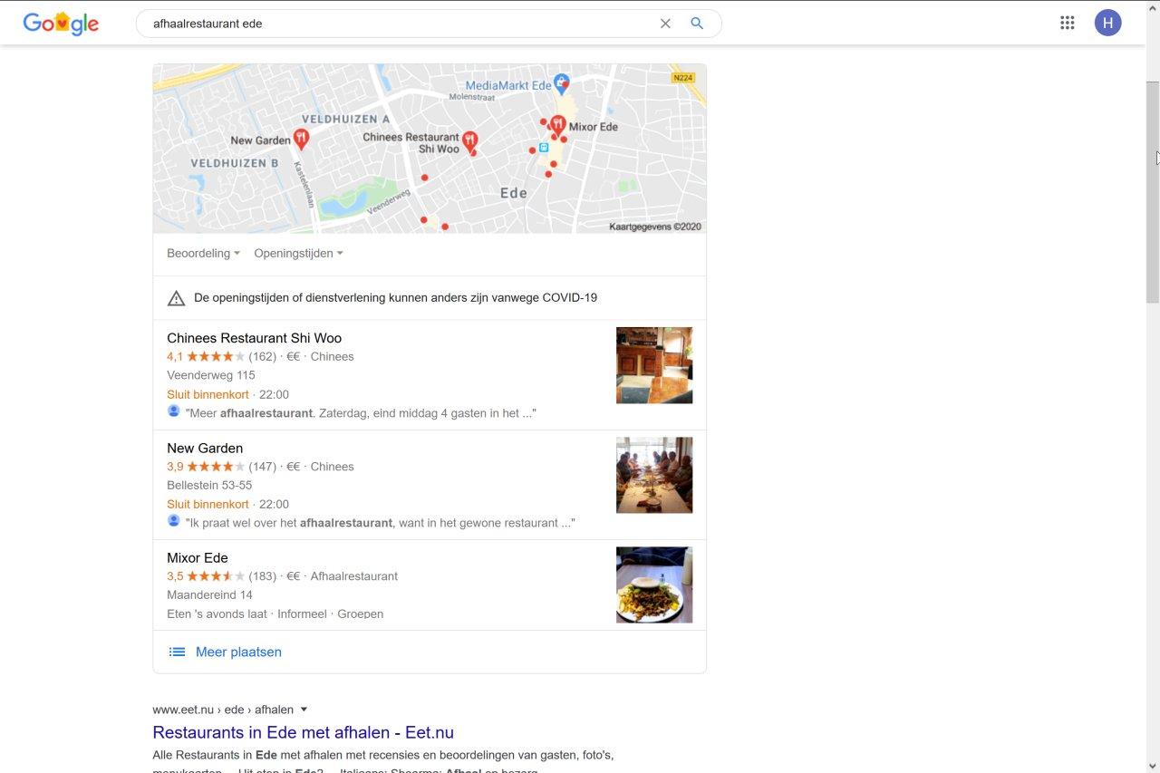 Afhaalrestaurants in Google Zoeken