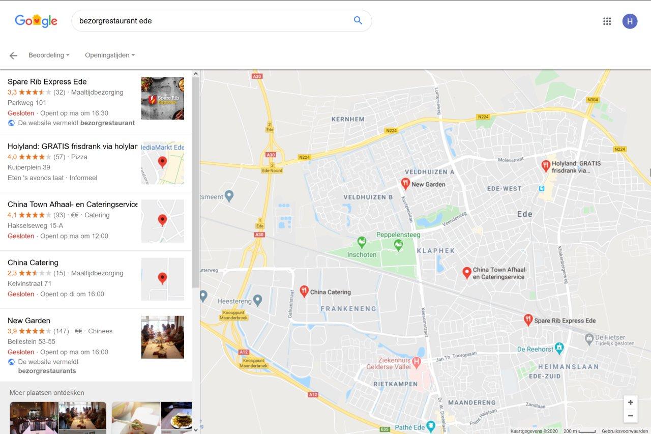 Bezorgrestaurants op Google Maps