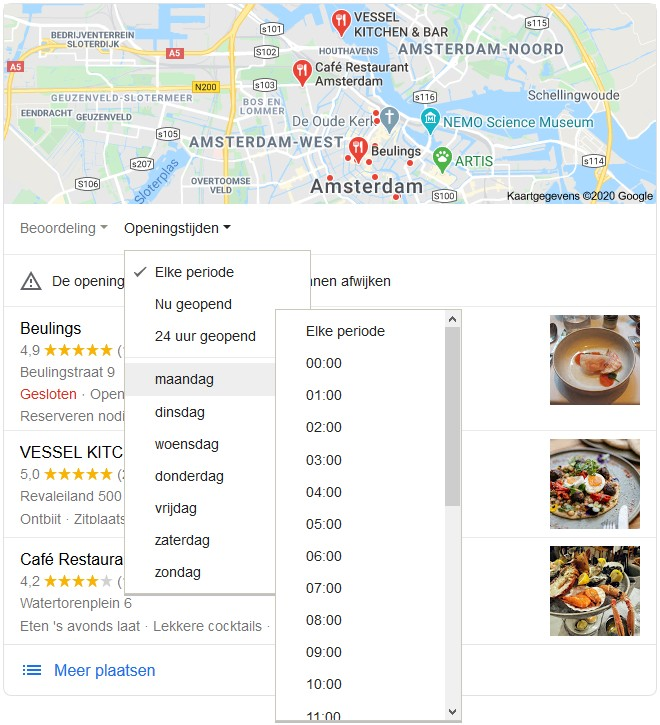 Openingstijden van restaurants in de 3-pack op Google