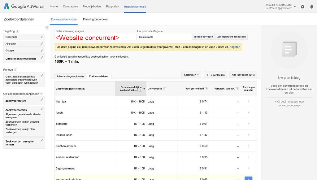Gebruik de Google AdWords Zoekwoordplanner om te kijken met welke zoektermen het restaurant van je concurrent wordt gevonden.