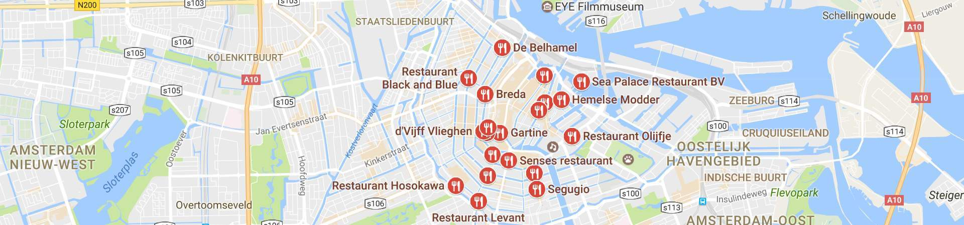 Google Maps met Restaurants in Amsterdam Centrum