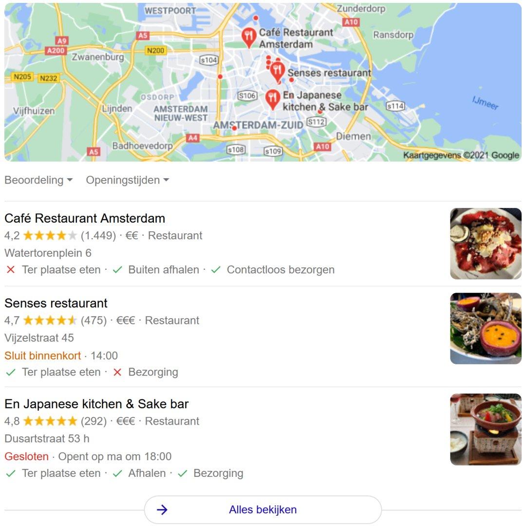 In de Google zoekresultaten zie je hoe goed jouw restaurant scoort in Google Mijn Bedrijf.