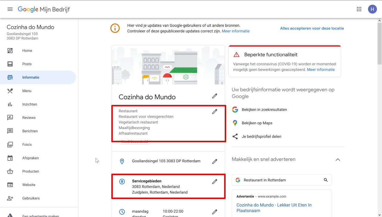 Google Mijn Bedrijf Categorie en Servicegebied
