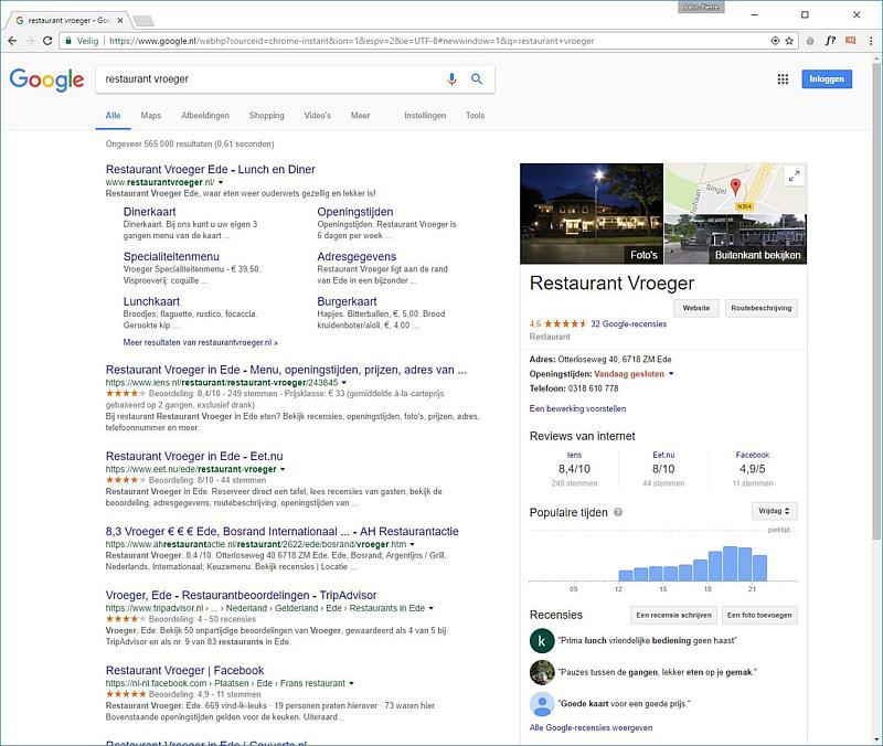 Een voorbeeld van de Google Mijn Bedrijf Kenniskaart van Restaurant Vroeger Ede