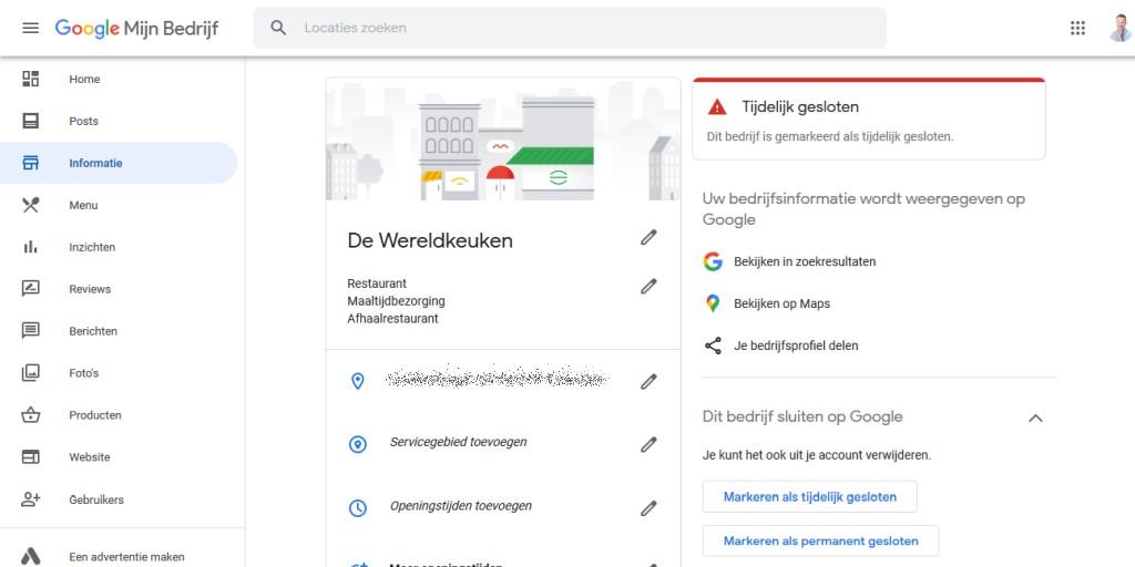 Een bedrijf dat op Google Mijn Bedrijf is gemarkeerd als tijdelijk gesloten