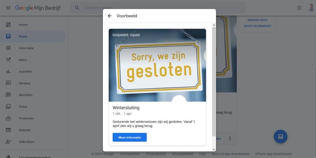 Een Post publiceren in Google Mijn Bedrijf om aan te geven tot wanneer je bedrijf gesloten is