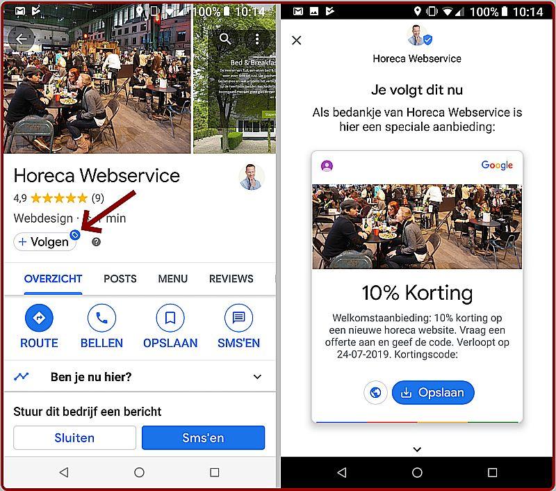 De volgknop in het Google Bedrijfsprofiel van Horeca Webservice en de welkomstaanbieding