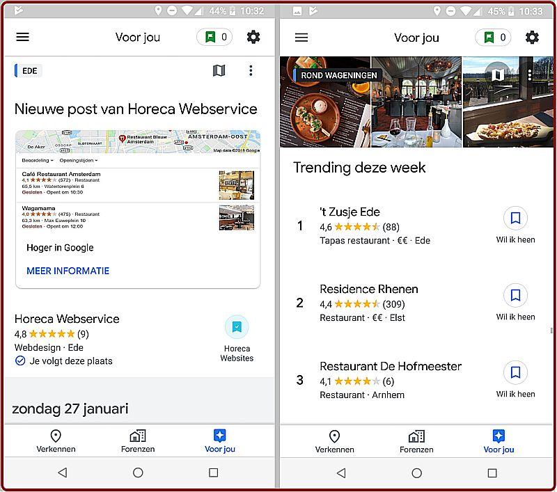 De volgknop in het Google Bedrijfsprofiel van Horeca Webservice