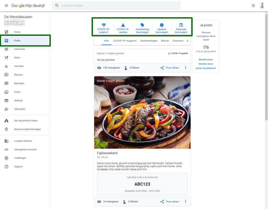Schermafdruk van het Google Posts scherm in Google Mijn Bedrijf