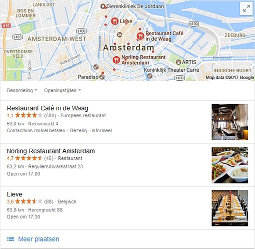 Google zoekresultaat voor Restaurants Amsterdam Centrum