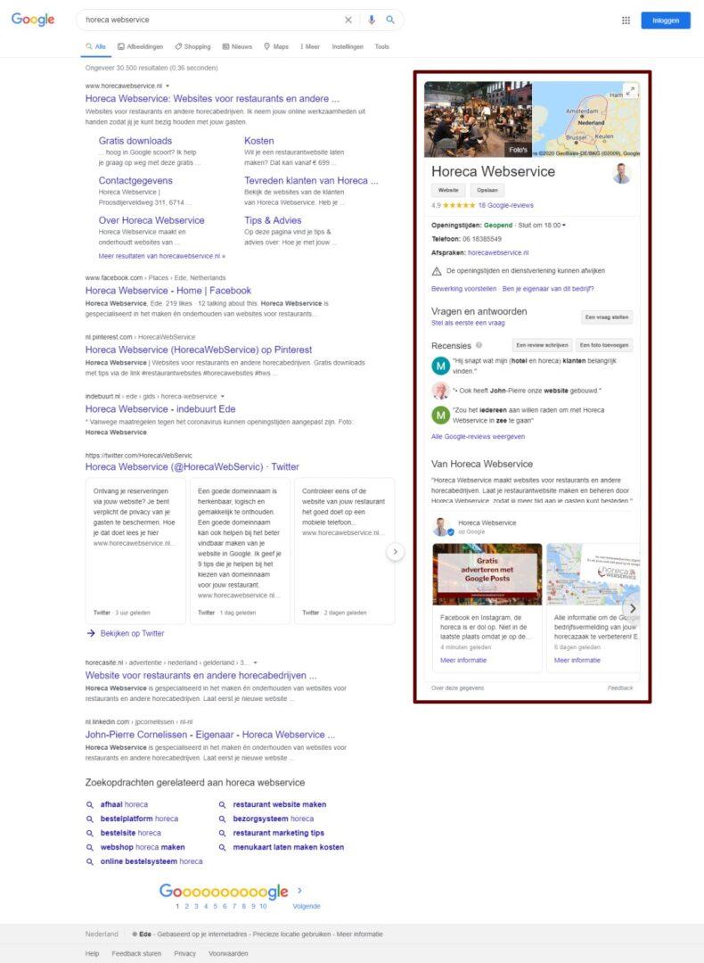 Het Google Bedrijfsprofiel van Horeca Webservice, met onderaan twee Google Posts.