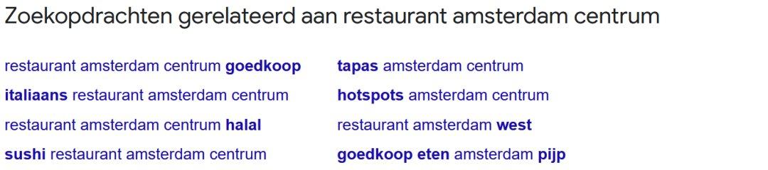 Gerelateerde en relevante zoekopdrachten die Google onderaan de zoekresultaten geeft