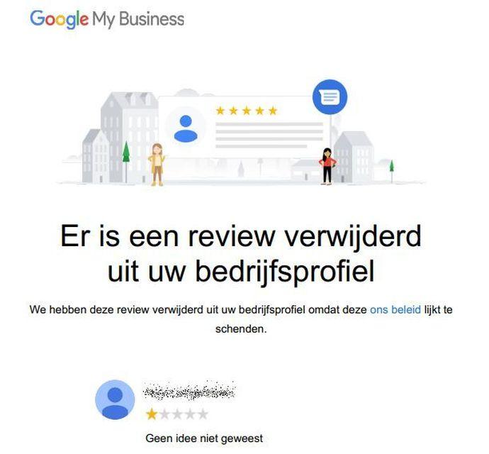 Bevestiging van een verwijderde Google review