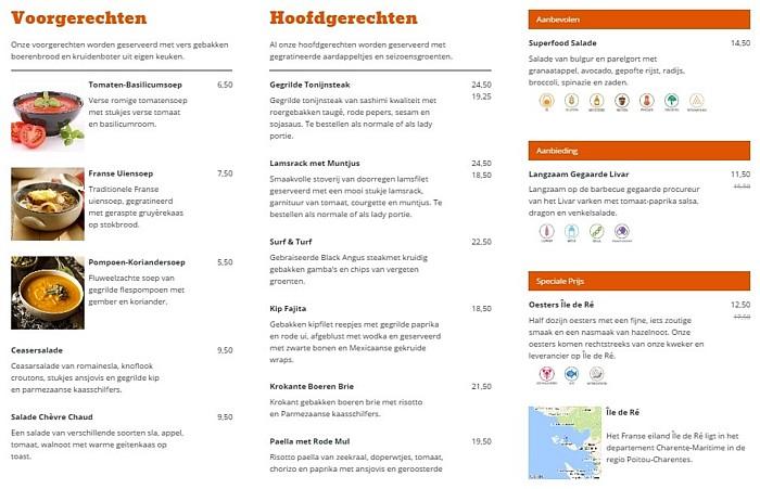 Online restaurant menukaart