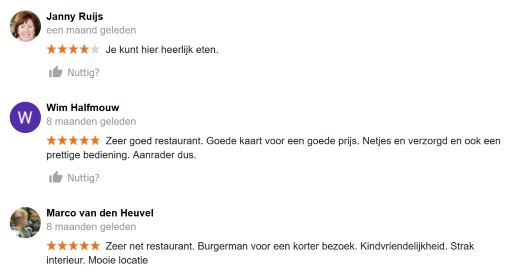 Online restaurant recensies