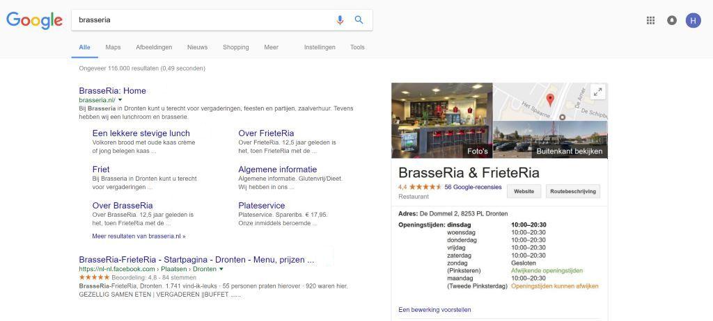 Openingstijden op Google