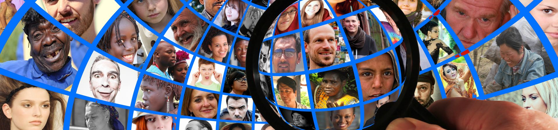 Wereldbol met gezichten en vergrootglas ivm privacyverklaring. Foto Gerd Altmann pixabay