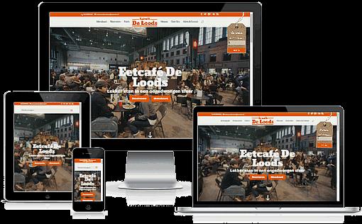 Een responsive restaurant website is geschikt voor weergave op PC's, tablets en mobiele telefoons
