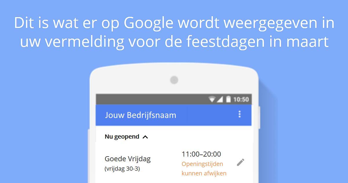 Servicemail waarin Google aangeeft welke openingstijden Google voor jouw zaak laat zien met goede vrijdag