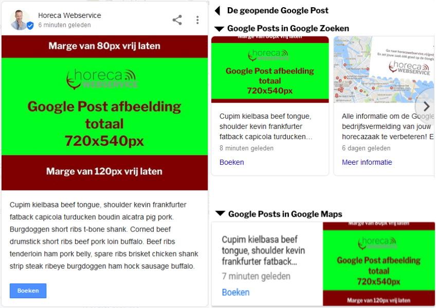 Verschillende weergaven van Google Posts