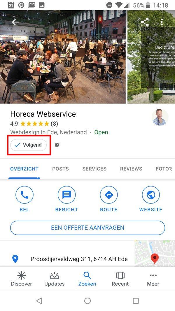 Volgen Google Bedrijfsprofiel Horeca Webservice