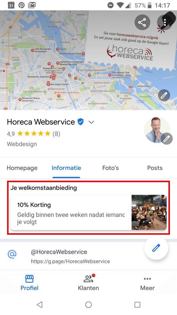 Welkomstaanbieding Google Bedrijfsprofiel Horeca Webservice