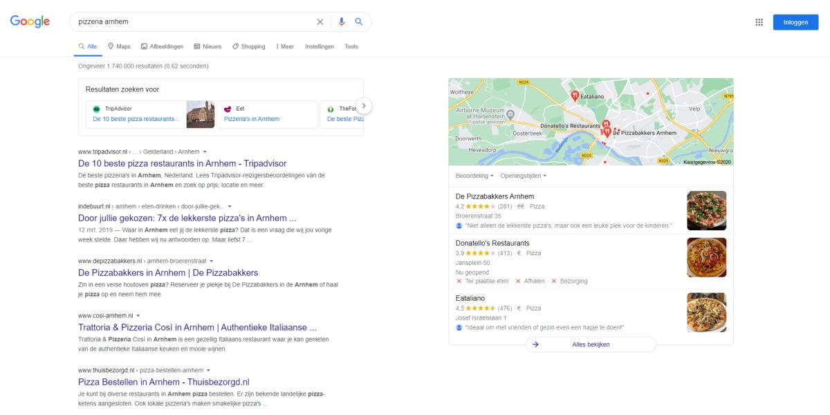 Restaurants hoog in de algemene en lokale Google zoekresultaten