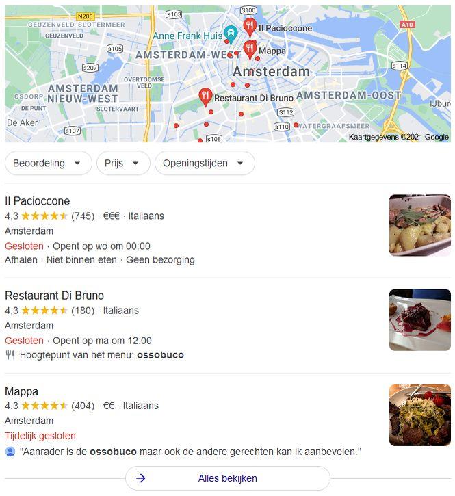 Reviews met zoekwoorden op Google