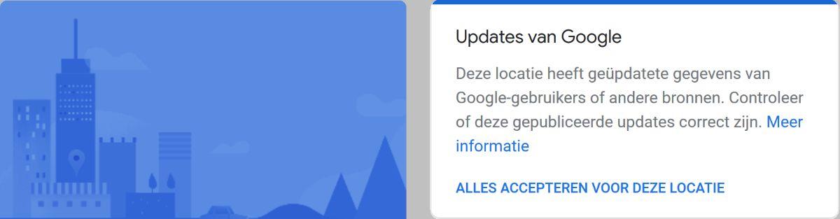 Deze locatie heeft geüpdatete gegevens van Google-gebruikers of andere bronnen. Controleer of deze gepubliceerde updates correct zijn.